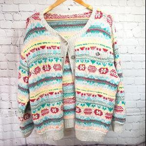 Vintage Handmade Knit Cardigan Sweater Oversized